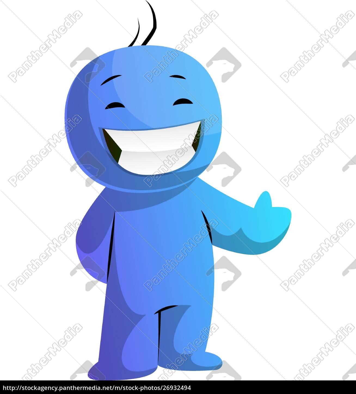 Caracter De Desenho Animado Azul Sorrindo Com Polegar Stockphoto 26932494 Banco De Imagens Panthermedia