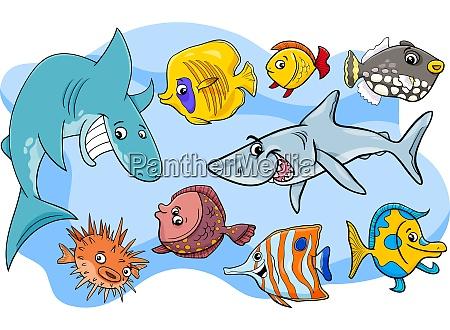 peixe peixe animal animal grupo personagens