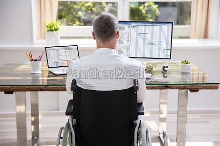 empresario sentado em cadeira de rodas