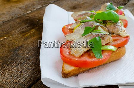 bruschetta with tomato sardines