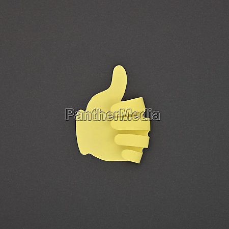 paper made yellow like gesture sticker