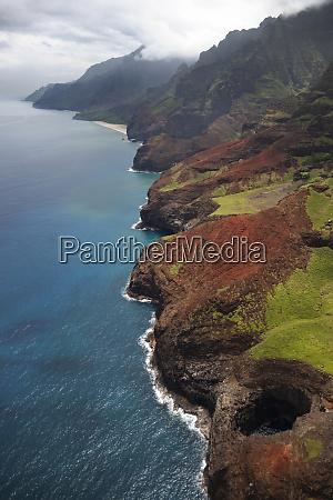 usa hawaii kauai aerial view of