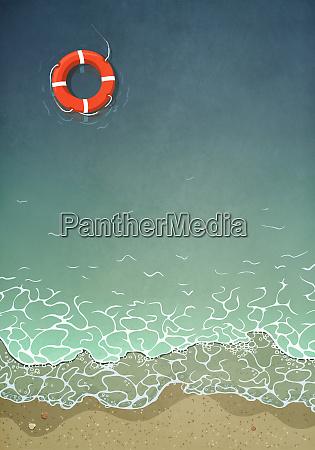 anel de vida flutuando na agua