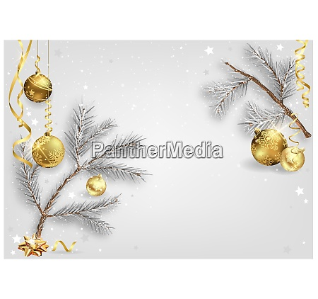 xmas background with coniferous branches and