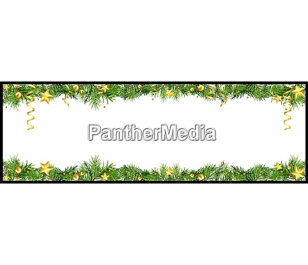 christmas banner with green coniferous twigs