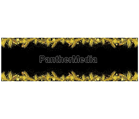 black xmas banner with golden coniferous