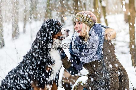 mulher, passeando, com, seu, cachorro, no - 27435672