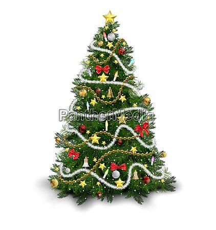 Arvore de natal com ornamentos coloridos