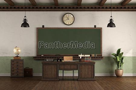 sala de aula vazia estilo retro