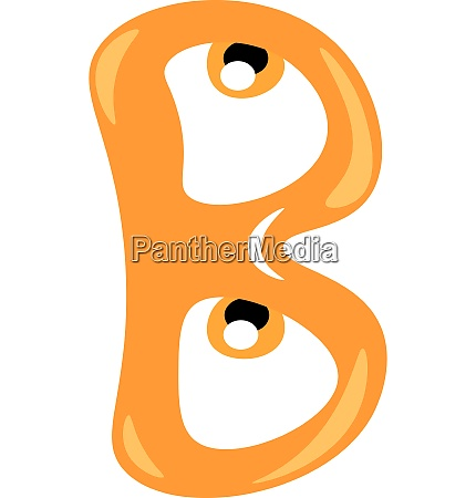 alphabet b in orange color vector