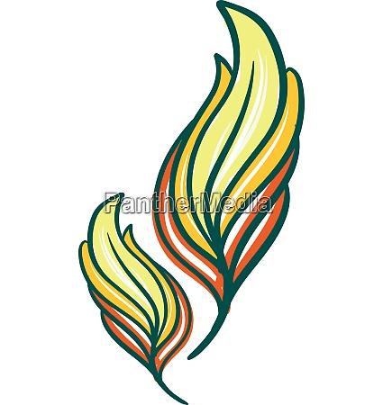 vetor de penas de cor amarela