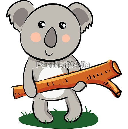 cartoon koala holding a piece of