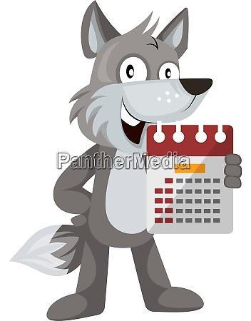 lobo com calendario ilustracao vetor em