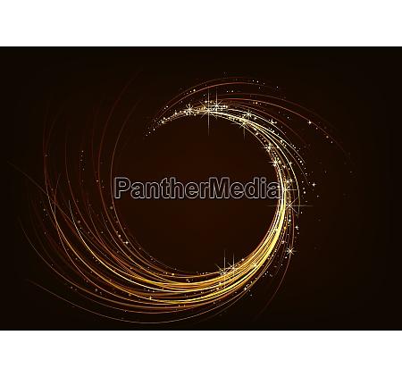 espiral brilhante dourada no fundo escuro