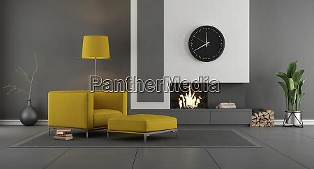 sala de estar moderna cinza e