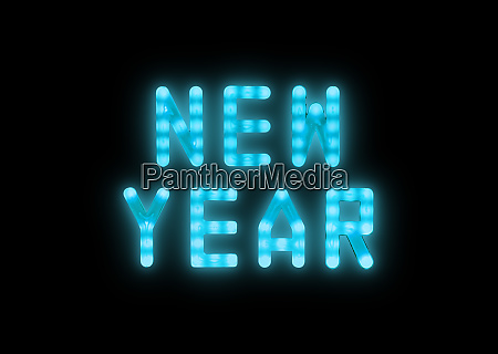 blue neon glowing led new year