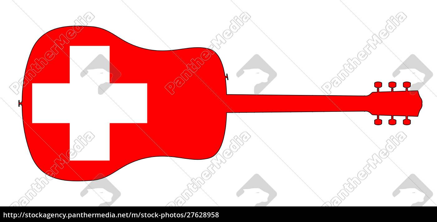 silhueta, da, guitarra, acústica, com, bandeira - 27628958