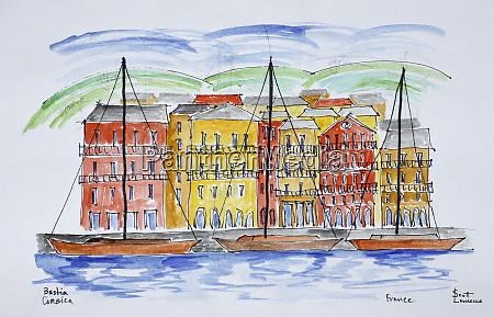 sailboats moored in the port bastia
