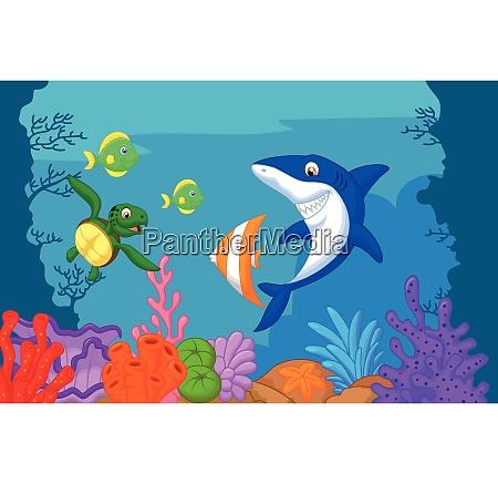 desenho animado da vida marinha
