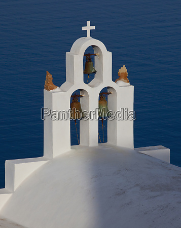 greece santorini bell tower and church