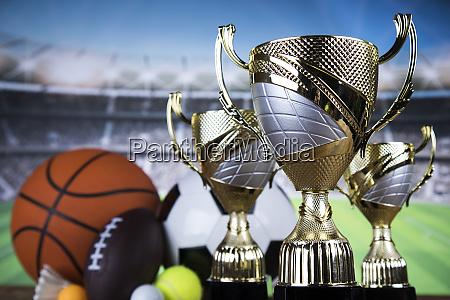 trofeu vencedor fundo de bola esportiva