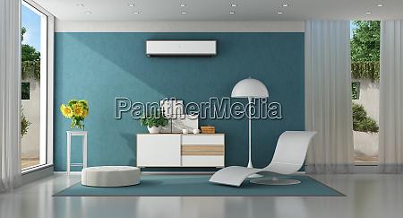 sala de estar azul moderna de