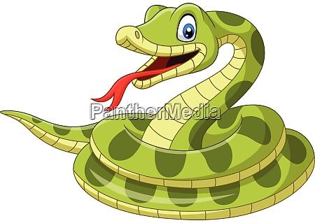 cobra verde de desenho animado no