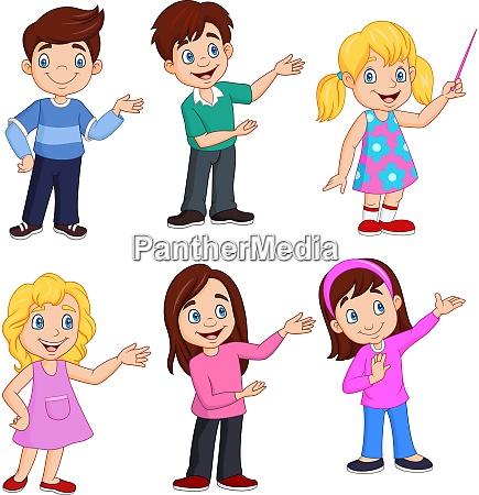 criancas de desenho animado com diferentes