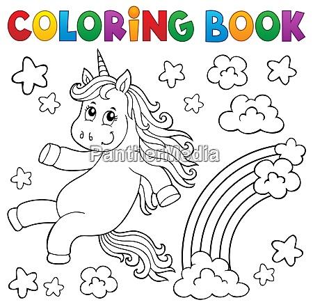 livro de colorir fofo tema unicornio