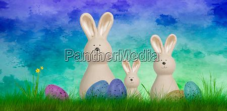 fundo, colorido, páscoa, com, três, coelhos - 28182135