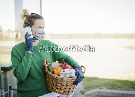 pretty woman with face mask and