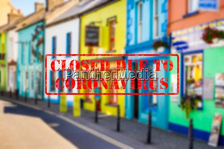 defocused view of exterior of colourful