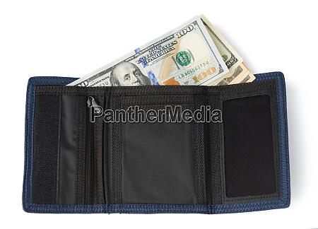 carteira textil azul aberto com cem