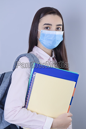 high school girl with mask on