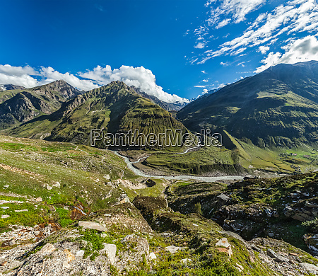 view of lahaul valley in himalayas