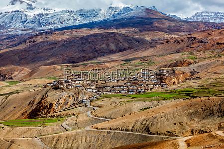 kibber village high in himalayas spiti