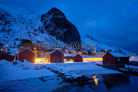 ramberg village with red traditional rorbue
