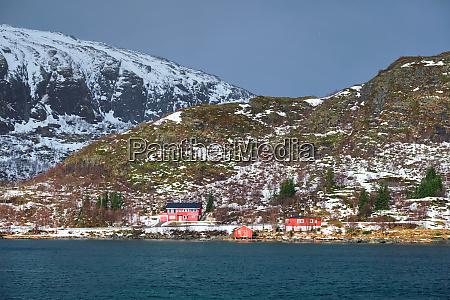 red rorbu houses in norway in