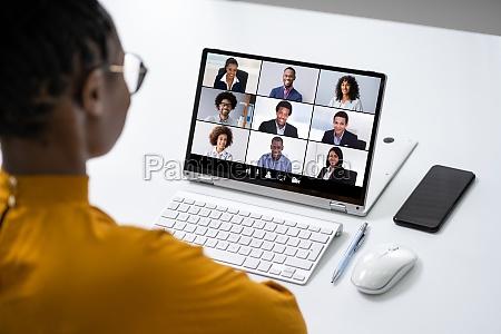 chamada de trabalho de videoconferencia on