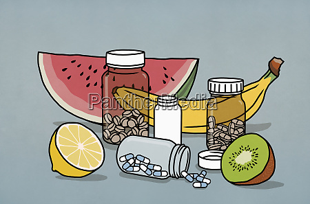 garrafas de frutas e medicamentos para