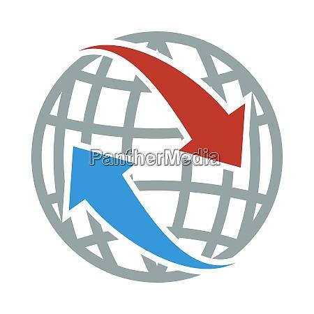Icone do globo com setas