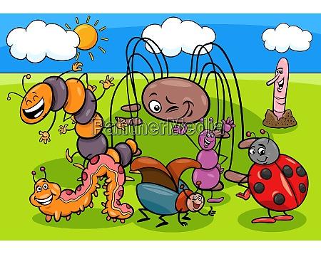 insetos e insetos grupo personagens de