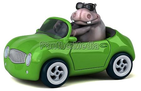 hipopotamo divertido ilustracao 3d