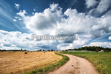 estrada rural com ceu dramatico