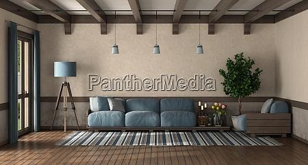 sala de estar estilo retro com