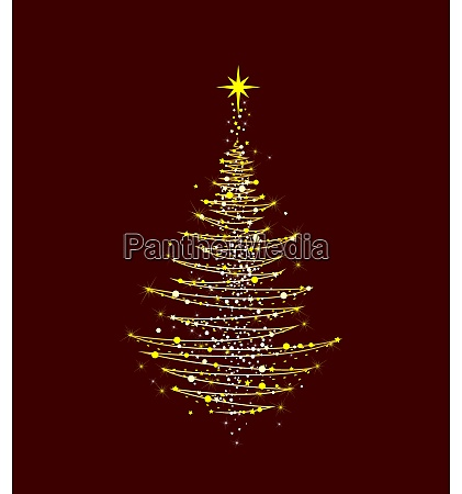 Arvore de natal brilhando de ouro