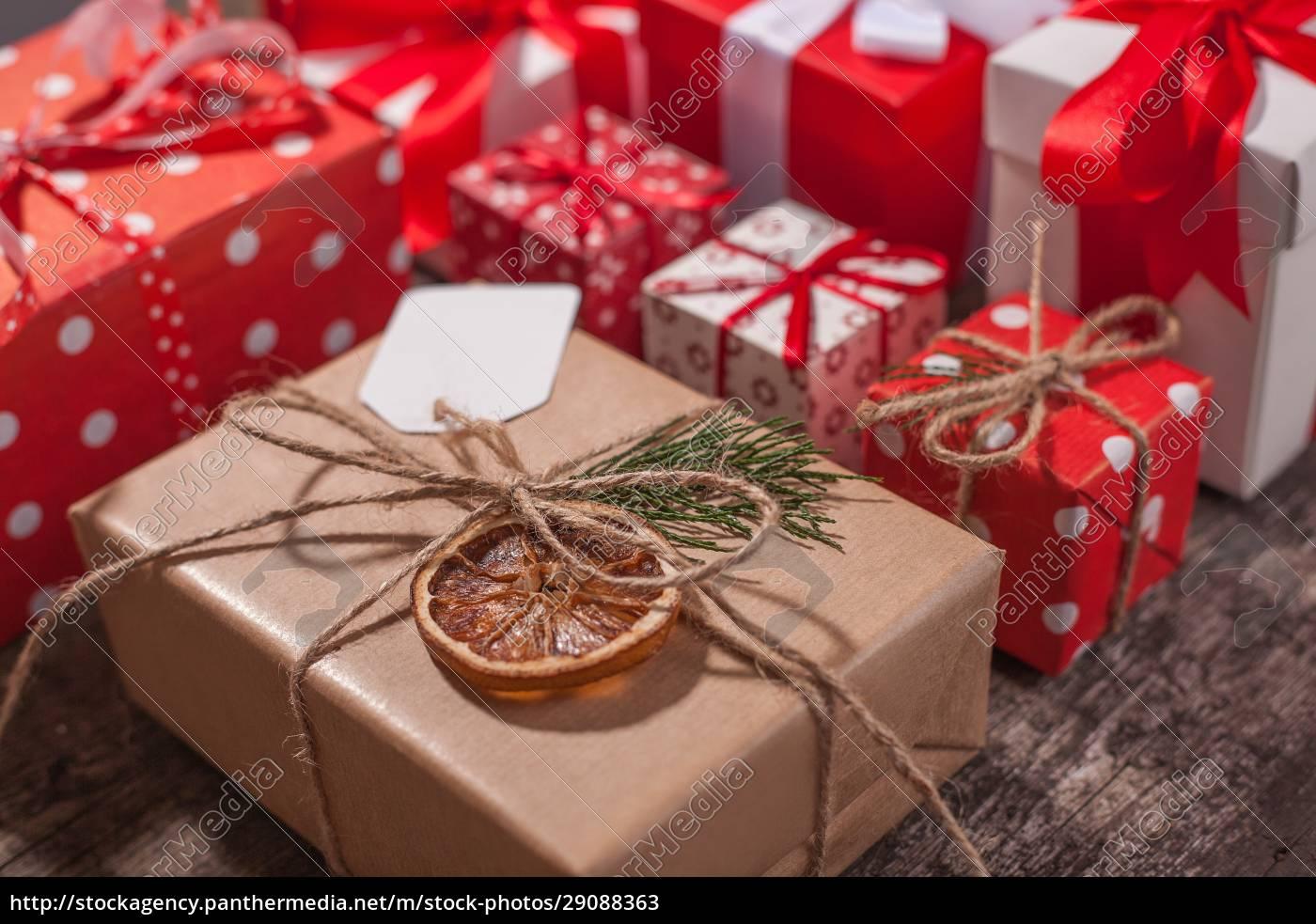 caixas, de, presente, de, natal, embrulhadas - 29088363