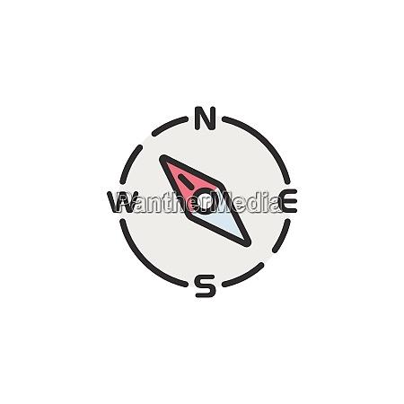 bussola sentido noroeste Icone de cor