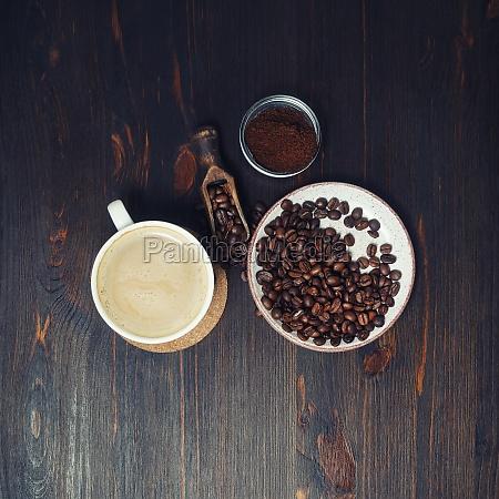 vida morta com cafe