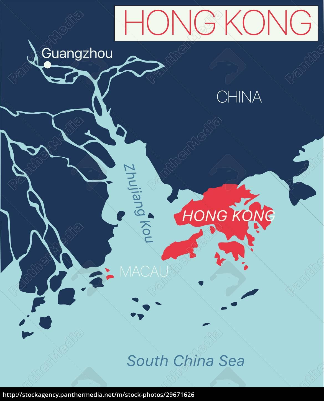 hong, kong, detailed, editable, map - 29671626